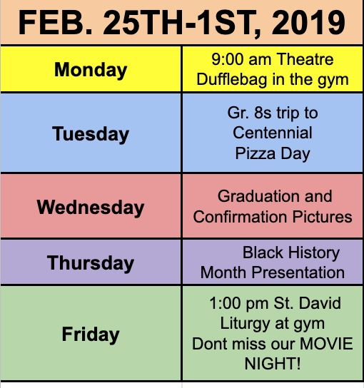 What is Happening This Week at St. David?